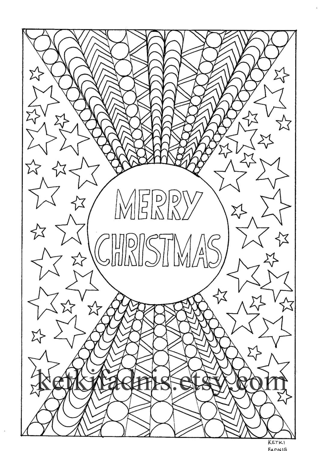 Merry Christmas Coloring page - Instant PDF Download ...