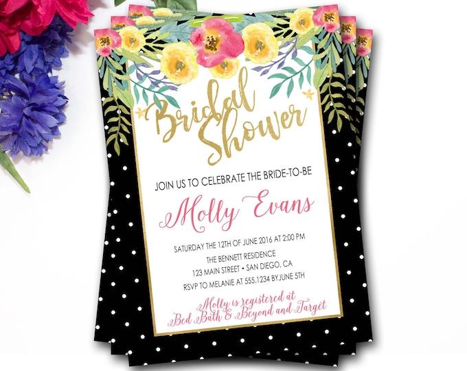 Tropical Floral Bridal Shower Invitation, Black And Gold Bridal Shower, Gold Bridal Shower Invitation, Purple Bridal Shower, DIY Printable
