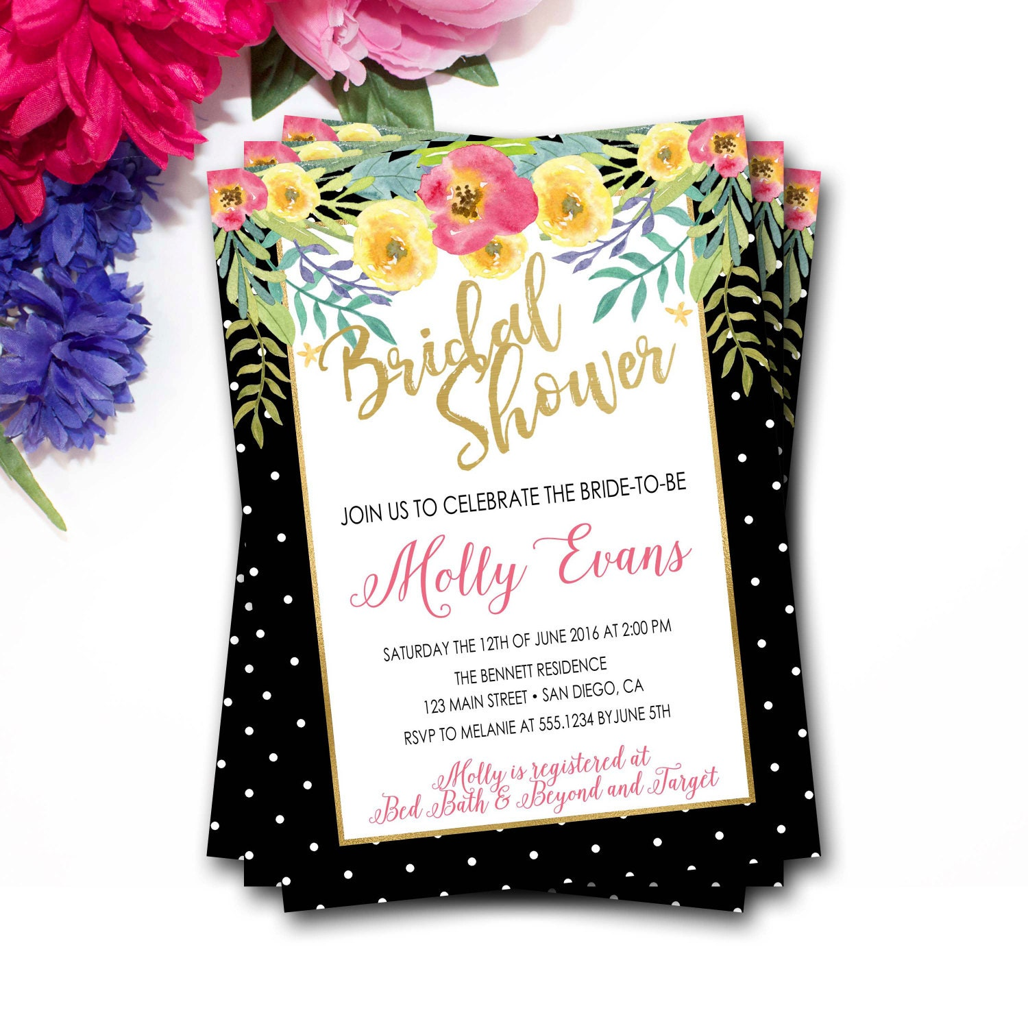 Tropical floral bridal shower invitation flower bridal shower tropical floral bridal shower invitation flower bridal shower invitation tropical bridal shower invitation watercolor floral invitation filmwisefo