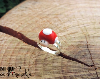 Multicolor champi mario (fimo) geek mario mushroom ring adjustable video game geek gift idea