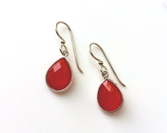 Carnelian Sterling Earrings, Sterling Drop Earrings, Teardrop, Sterling Silver Earring Wires