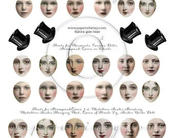 PaperWhimsy Digital Download Collage Sheet Beautiful Faces Art Dolls Collage Sheet