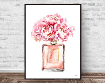Chanel Perfume print, perfume art, fashion illustration art