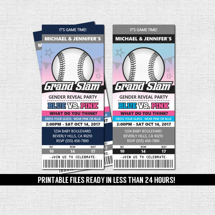 Gender Reveal Ticket Invitation Baseball Baby Shower Party