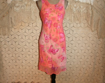 90s Butterfly Dress Sleeveless Spring Summer Peach Floral Chiffon Dress Midi Size 6 Dress Small Vintage Clothing Womens Clothing