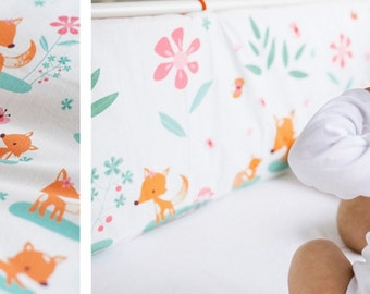 Crib bumper - SWEET FOXES! Adorable foxes design for your nursery!