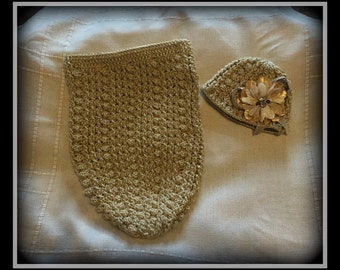 A Bit Of Honey! Crocheted baby cocoon set.