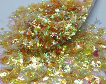 "Iridescent snowflakes, ""Dracarys"", sequins, mylar, 10 grams, nail art, resin, UV, snow, Rainbow, hobby, rainbow, yellow"
