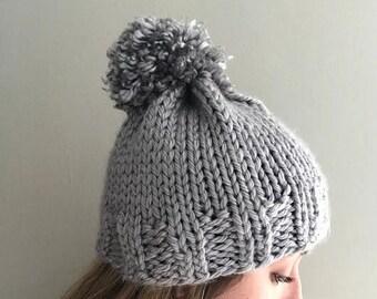 Shiny Gray Pompom Hat