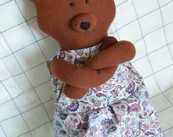 teddy bear pattern stuffed animal Soft teddy bear, toy bear, sleep hare toys, Stuffed teddy bear, Handmade teddy bear, bear in clothes