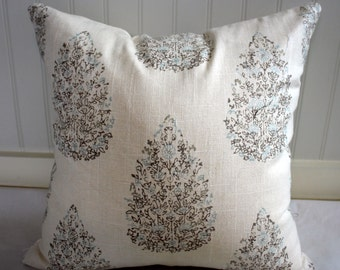 Cocoa Brown, Blue and Ivory Tree Medallion Pillow Cover / Designer Duralee fabric/ Custom Handmade Home Decor Accent Pillows