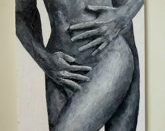 Black man white woman nude paintings, bubble butt naked woman