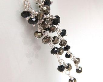 Night Out Earrings, Gold Black Sterling Silver Cluster Earrings, Pyrite Spinel Gemstone Dangle Earrings, aubepine
