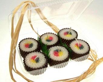 Sushi Geekery Sushi Boxed Set Sushi Shaped Candles Sushi Set Box Votive Candles 6 Handmade Beeswax Candle Votives in Bento Box Futomaki