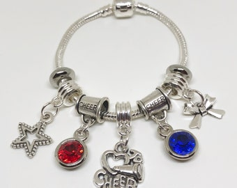 PERSONALIZED Cheerleading Bracelet ADULT, Rope Bracelet, All Star Cheerleading, Cheerleader Gift, Cheerleading Coach, Cheerleading Charm