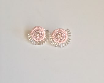 Pretty in Pink Bead Embroidered Studs