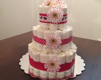Lady Bug Diaper Cake|Red And White Cake|Baby Accessories|Party Centerpiece|Pink Diaper Cake