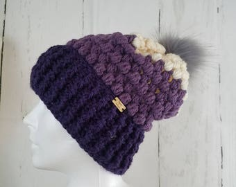 Piper Slouch Beanie.Ready to Ship//TRICOLOR Slouch//Purple.Lilac.Lavendar.Cream Beanie//Pom Pom//Crochet Hat//Puffy Hat//Ribbed Band