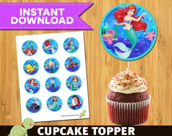 12  Little Mermaid -  Little Mermaid Package -   Little Mermaid Printable Party Circles
