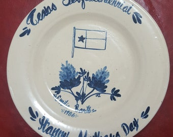 Marshall Pottery Texas Sesquicentennial Mother Day Plate