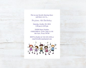 Dance Party Birthday Invitation - Set of 10
