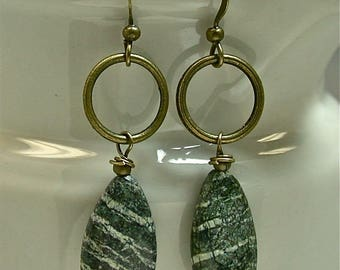 Vintage Moss Green Jasper Teardrop Tiger Striped Bead Dangle Drop Earrings, Antiqued Brass Hoops - GIFT WRAPPED