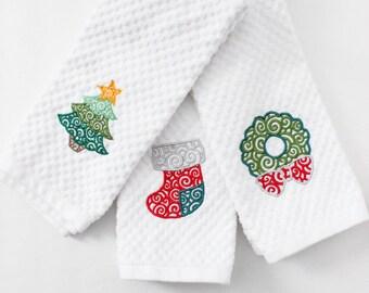 Christmas Kitchen Towels - Christmas Towels - Holiday Kitchen Towels - Gift For Mom - Christmas Decor - Embroidered Towels - Tea Towels
