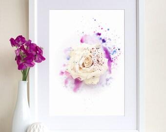 Rose Painting, Rose Print, Rose Photography, Mixed Media Art, Floral Art Print, Gift for Women, Botanical Print, Giclee Art Print