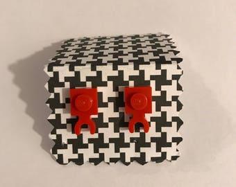 Lego Red Stud Earrings