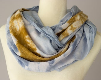 Blue + Bronze Infinity Scarf, rayon, tie-dye, gift for her