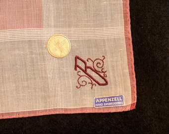 Bailey, Brooke, Beth, Barbra, Betty, Bernadette,Authentic Appenzell Handkerchief Initial B Hand Embroidery