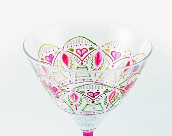 Mother's Day glass, Personalized hand painted Martini glass, Pink cocktail glass, Boho, Bohemian, Mandala, OOAK, Unique hand painted glass
