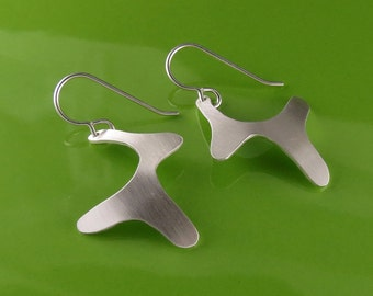 Modern Abstract Sterling Silver Dangle Earrings, Handmade