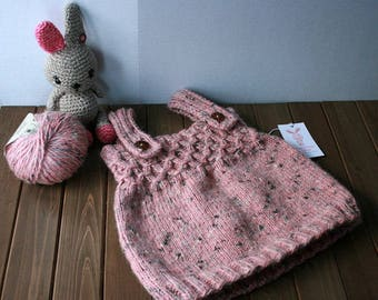 Hand Knit Baby Girl Dress 12 Months, Ready to Ship