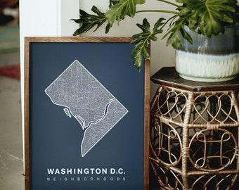WASHINGTON DC. Screen Print Poster. Neighborhood Map. Modern Home Decor Print. Washington DC Art Poster. Multiple Colors.
