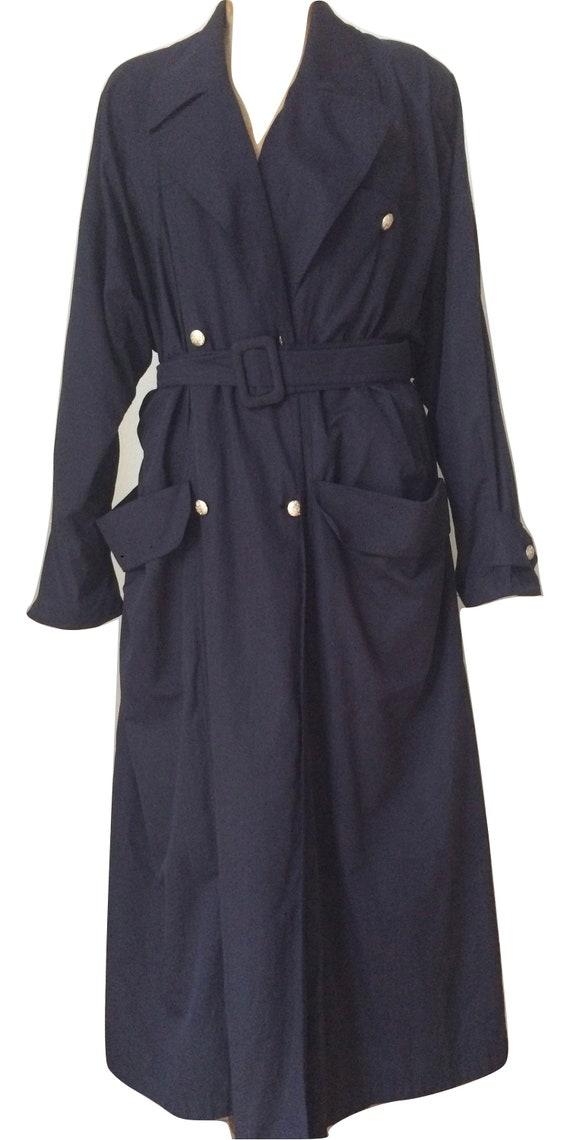 Vintage trench coat | Vintage rain coat | vintage Karl Lagerfeld | darkblue coat | vintage designer coat |  size 40