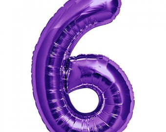 """Purple Number 6 Foil Balloon 86cm (34"""") Giant 6th Birthday Party Decoration!"""