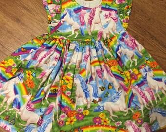 Girls Dress,  Birthday Outfit - Unicorn Birthday outfit -Unicorn Party Dress -Rainbows  -Unicorn Party Dress - Rainbow & Unicorn Party Dress