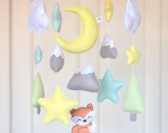 Woodland mobile, Forest animal mobile, Woodland nursery, Fox mobile, baby mobile, cot mobile, forest nursery mobile baby shower mountain