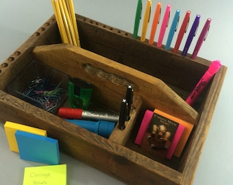 Vintage Wooden Toolbox, Reclaimed Wood, Desk Organizer, Kitchen Caddy