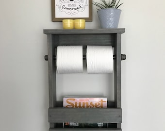 Bathroom toilet paper holder with black iron pipe, Bathroom organizer, Rustic toilet paper holder, Industrial bathroom organizer, Iron Pipe