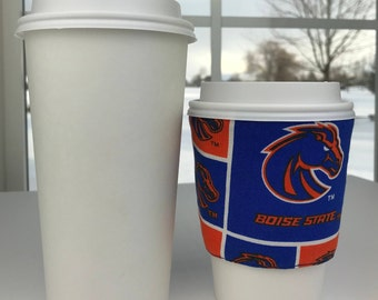 Boise State Bronco Print Fabric Coffee Cozy / BSU Print Coffee Cozy / Reversible Solid Blue