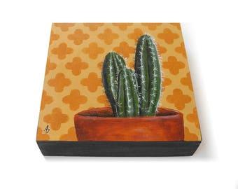 Cactus painting - original hand painted cactus on southwest background - cacti artwork - cactus painting - modern cactus decor - orange