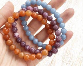 Stackable Bracelets Set, Angelite Bracelet, Lepidolite Bracelet, Aventurine Bracelet, Gemstone Bracelets, Mala Bracelet, Crystal Bracelets