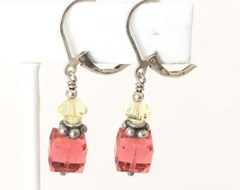 Watermelon Pink Cube Dangle Earrings 925 Sterling Silver  gw17-113