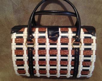 1950s Vintage Basket Bag / 50s Vintage Purse