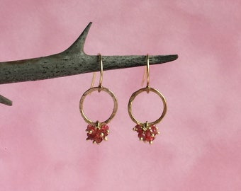 Red spinel cluster earrings