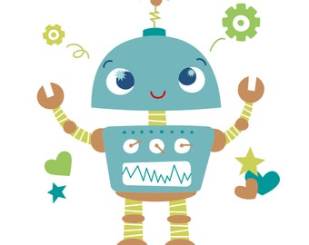 Wall Art Print - Little Robot - Nursery Decor