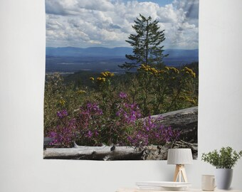 Rocky Mountain High, Nature Wall Tapestry, Mountain Tapestry, Coeur d'Alene. Idaho Scenic View Wall Art, Landscape Photography, Wildflowers