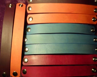 "Lot of 10 DYED 1"" wide Tooling LEATHER  BRACELET Blanks with snaps for Youth Crafts, Fundraisers and Vendors. Rounded Ends"
